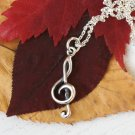 Sterling Silver Treble Clef Music Note Necklace