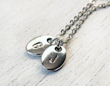 Hand Stamped Initial Necklace With Two Tags