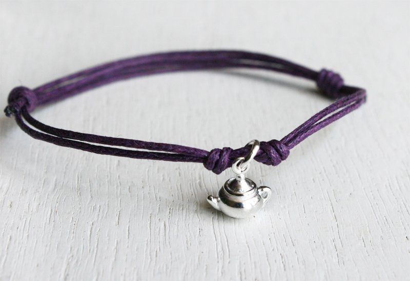 Sterling Silver Teapot Bracelet / Teapot Anklet (many color to choose)