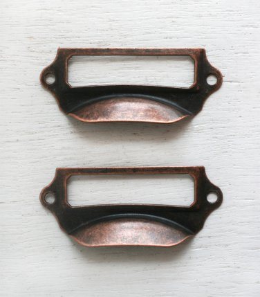 Category Label Holder/drawer pulls - antique copper (set of 2)(narrow style)