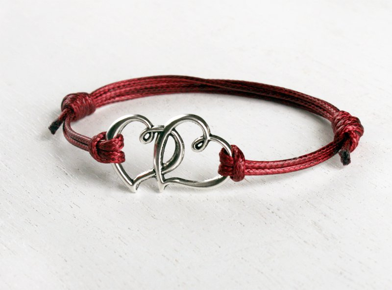 Large Double Heart Bracelet (many cord colors to choose)