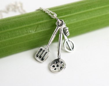 Sterling Silver Kitchen Tool Necklace / Cooking Tool Necklace / Chief Necklace