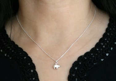 Sterling Silver Tiny Bear Necklace