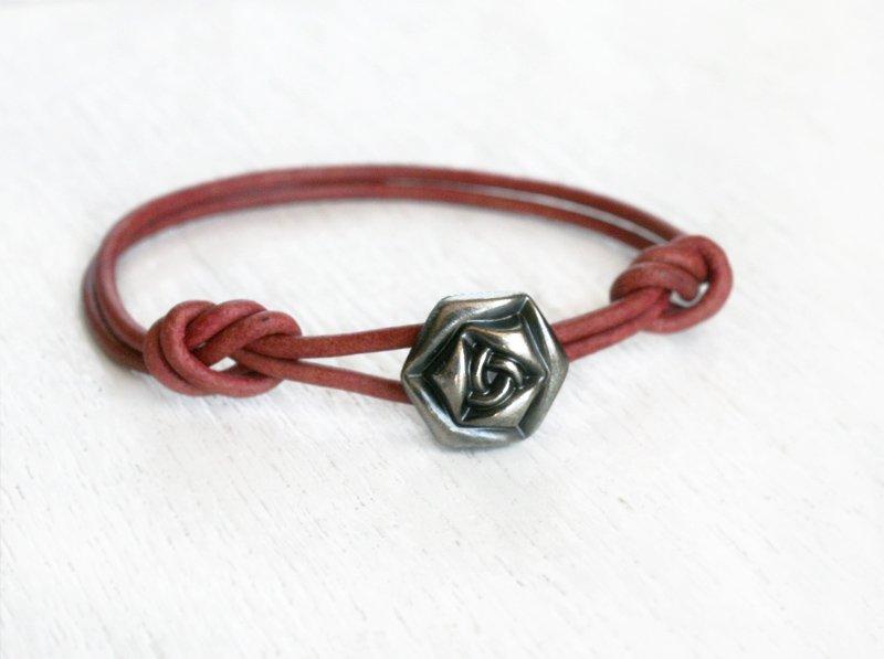 Rose Leather Bracelet (Many colors to choose)
