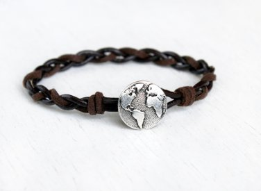 Globe Bracelet with Braided Leather Cord, World Map Bracelet, Earth Bracelet (3 cord colors)
