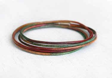 double wrap leather bracelet with triple leather cords (many colors to choose)