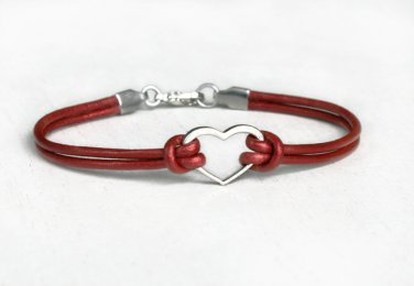 Heart Bracelet with Round Leather Cord (Many colors to choose)