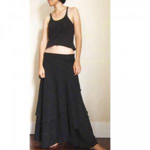 Black Cotton Boho Hippie Two Layers Circle Wrap Skirt S-L (H)