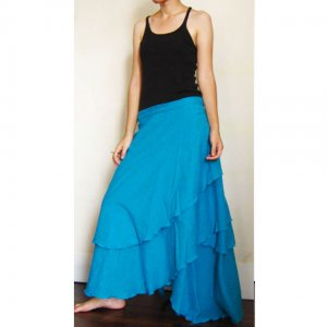 Blue Cotton Boho Hippie Gypsy Two Layers Circle Long Wrap Skirt S-L (H)