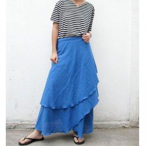 Blue Koi Cotton Boho Hippie Two Layers Circle Wrap Skirt (H)