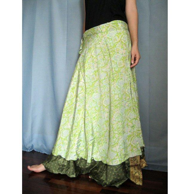 India Nepal Sari Reversible Long Wrap Skirt Gypsy Boho Reversible size S-M-L K26