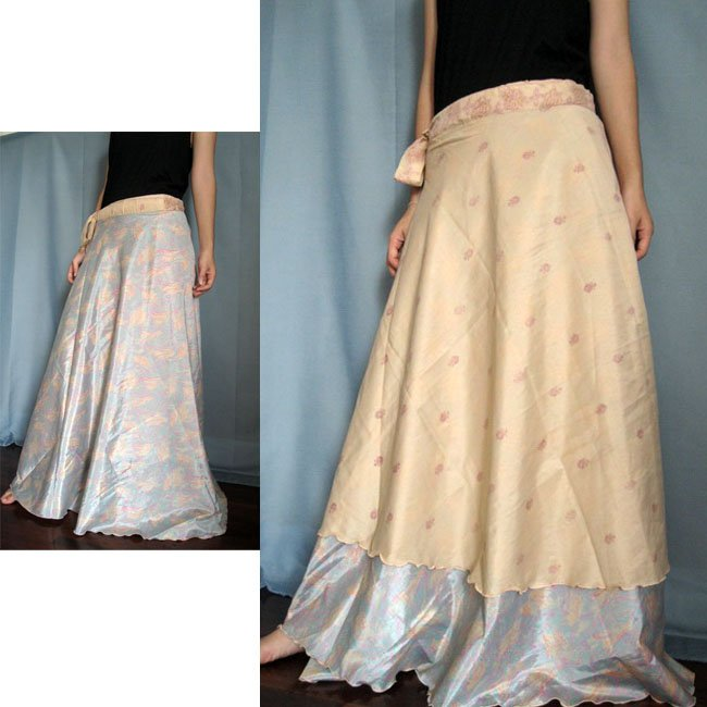 India Nepal Sari Reversible Long Wrap Skirt Gypsy Boho Reversible size S-M-L K24