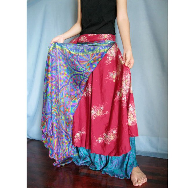 India Nepal Classic  Silk Sari Reversible long Wrap Skirt Dress Top Bohemian Boho Size S M L(K34)