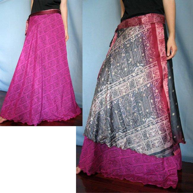 India Nepal Classic Silk Sari Reversible long Wrap Skirt Dress Top Bohemian Boho Size S M L(K54)