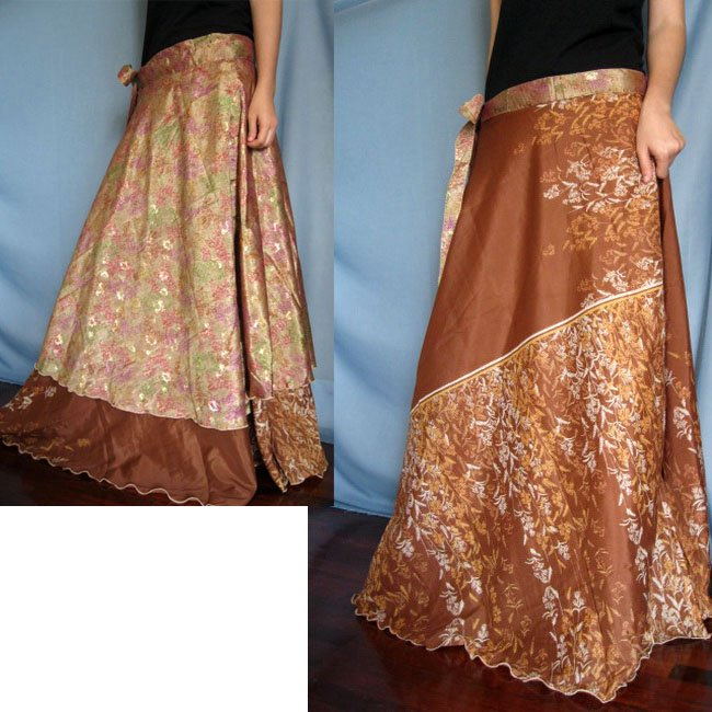 India Nepal Classic Silk Sari Reversible long Wrap Skirt Dress Top Bohemian Boho Size S M L(K51)