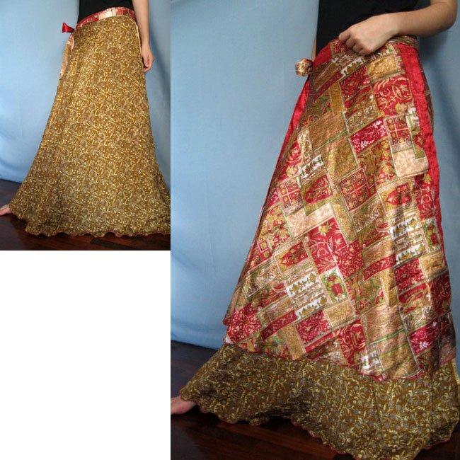 India Nepal Classic Silk Sari Reversible long Wrap Skirt Dress Top Bohemian Boho Size S M L(K50)