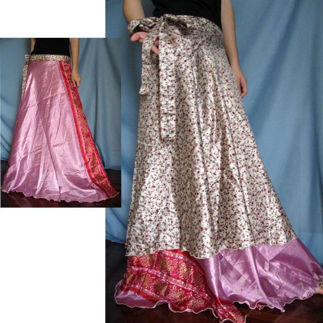 India Nepal Classic Silk Sari Reversible long Wrap Skirt Dress Top Bohemian Boho Size S M L(K46)