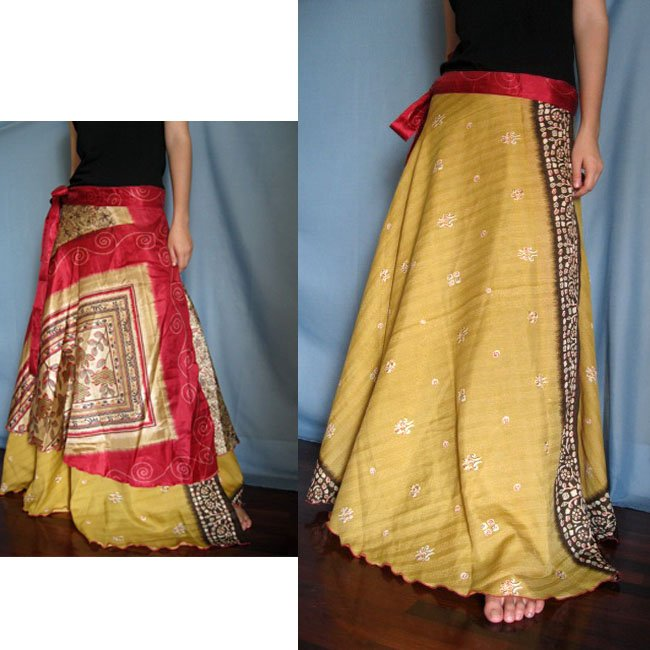 India Nepal Classic Silk Sari Reversible long Wrap Skirt Dress Top Bohemian Boho Size S M L(K45)