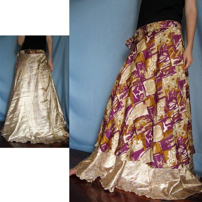 India Nepal Classic Silk Sari,Reversible, long Wrap Skirt Dress Top Bohemian Boho Size S M L(K44)