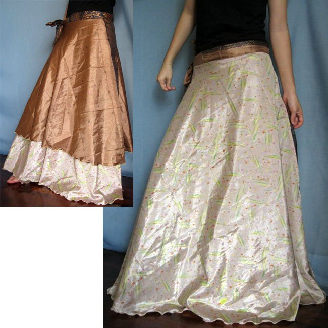 India Nepal Classic Silk Sari Reversible  long Wrap Skirt Dress Top Bohemian Boho Size S M L(K41)