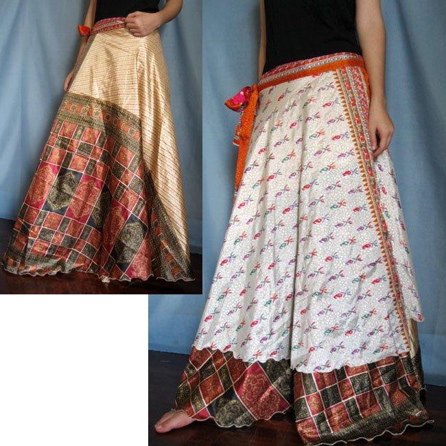 India Nepal Classic Silk Sari Reversible  long Wrap Skirt Dress Top Bohemian Boho Size S M L(K40)