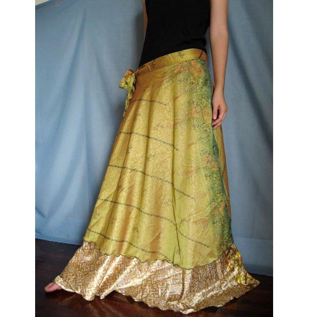 India Nepal Classic Silk Sari Reversible  long Wrap Skirt Dress Top Bohemian Boho Size S M L(K38)