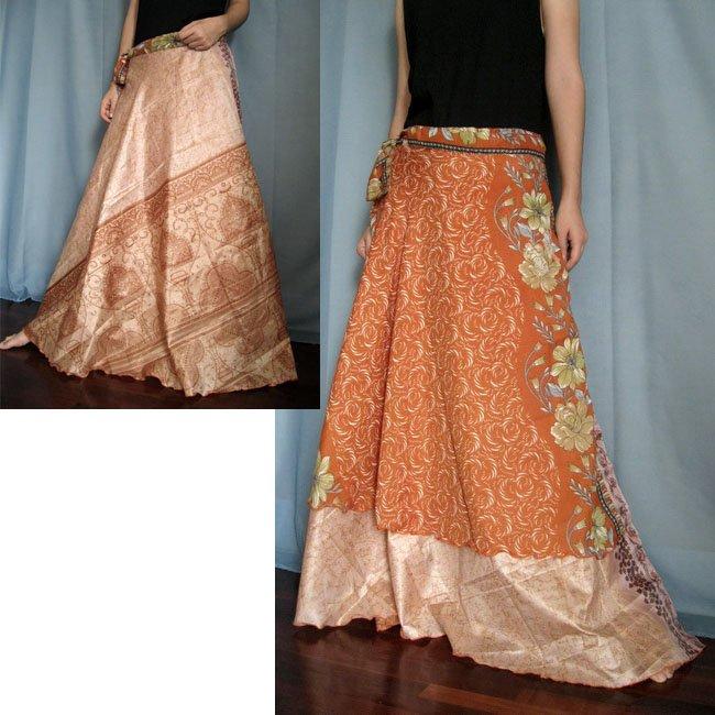 India Nepal Classic Silk Sari Reversible long Wrap Skirt Dress Top Bohemian Boho Size S M L(21)