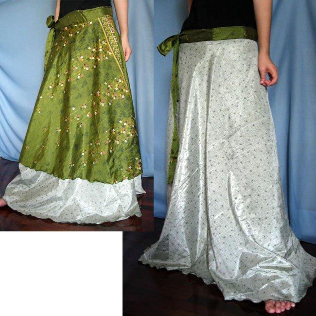 India Nepal Classic Silk Sari Reversible long Wrap Skirt Dress Top Bohemian Boho Size S M L(K35)