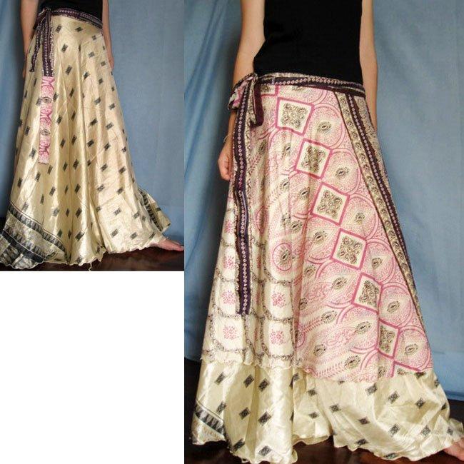India Nepal Classic Silk Sari Reversible long Wrap Skirt Dress Top Bohemian Boho Size S M L(K29)