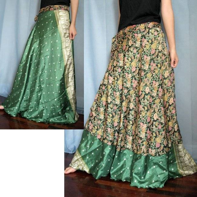 India Nepal Classic Silk Sari Reversible long Wrap Skirt Dress Top Bohemian Boho Size S M L(K23)