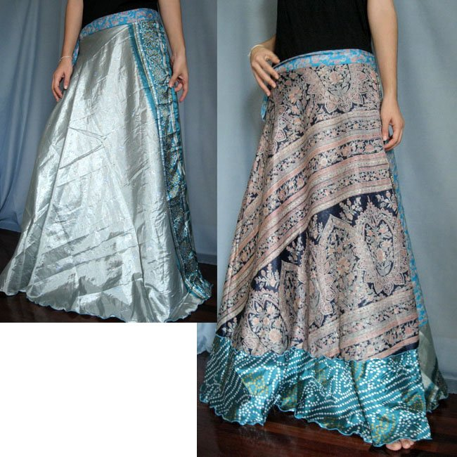 India Nepal Classic Silk Sari Reversible long Wrap Skirt Dress Top Bohemian Boho Size S M L(K28)