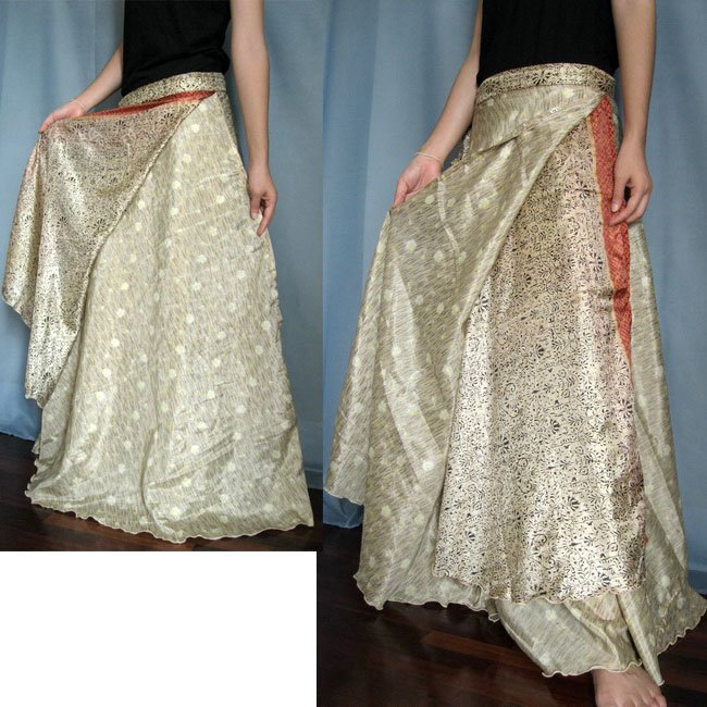 India Nepal Classic Silk Sari Reversible long Wrap Skirt Dress Top Bohemian Boho Size S M L(K25)