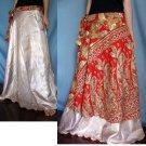 India Nepal Classic Silk Sari Reversible long Wrap Skirt Dress Top Bohemian Boho Size S M L(K48)