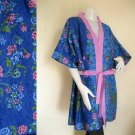 Blue Batik Short Kimono Bridesmaid Wedding Bath Robe (R14)