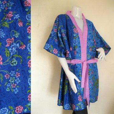 Blue Batik Short Kimono Bridesmaid Wedding Bath Robe (R14)