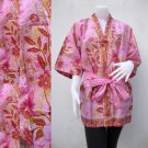 Pink Flowers Thai Batik Cotton Wrap Kimono Wedding Bridesmaid Bath Robe (R46)
