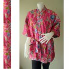 Pink Floral Kimono Crossover Thai Batik Cotton Bridesmaid Wedding Bath Robe (R 62)