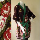 Red Floral Black Thai batik Short  kimono bath Robe R48