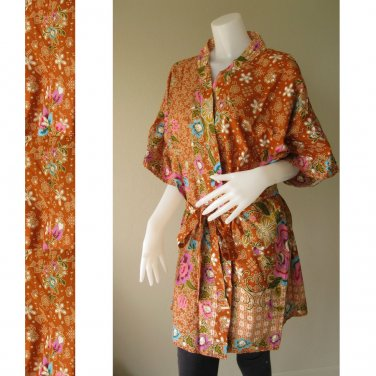 Brown Floral Thai Batik Cotton Short Kimono Bridesmaid Wedding Bath Long Robe S - L (R44)