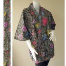 Mixed Flowers Dark Green Thai Batik Cotton Short Kimono Wedding Bath Robe S-L (R43)