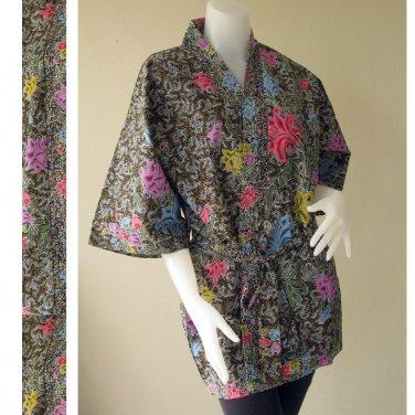 Mixed Flowers Dark Green Thai Batik Cotton Short Kimono Wedding Bath Robe S-L (R43)