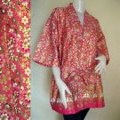 Golden flowers batik short kimono bridesmaid Robe  R42