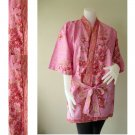 Carnation Pink Floral Batik Cotton Kimono Short Bridesmaid Bath Robe S-L (R38)