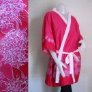 Pink Floral Batik Cotton Short Kimono Wedding Bridesmaid Wrap Bath Robe (R35)