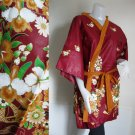 Brown Floral Thai Batik Wrap Kimono Bridesmaids Wedding Bath Robe (R31)