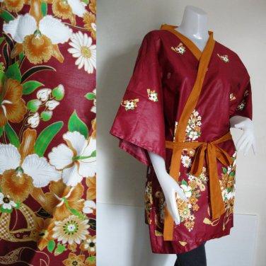 Brown Floral Thai Batik Wrap Kimono Bridesmaids Wedding Bath Robe (R31)