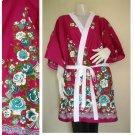 Pink Thai batik short Bridesmaid kimono Robe  R24