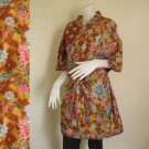 Classic Brown Floral Thai Batik Cotton Kimono Short Bath Robe S-L (R23)