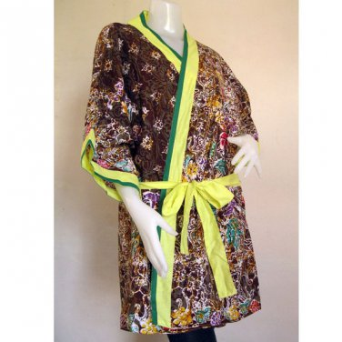 Short Sleeved Robe  Brown Floral Thai Batik Cotton Kimono  Bath Robe S-L (R12)
