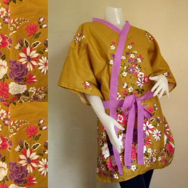 Gold Thai batik short kimono bridesmaid Robe R10